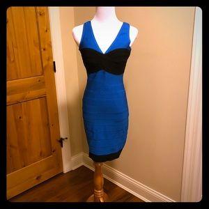 Herve Leger Blue and Black Dress